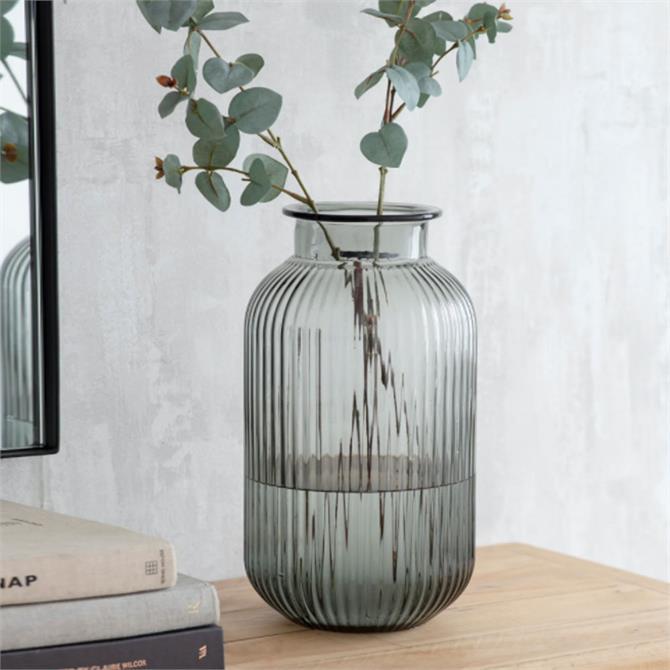 Garden Trading Large Ribbed Glass Vase