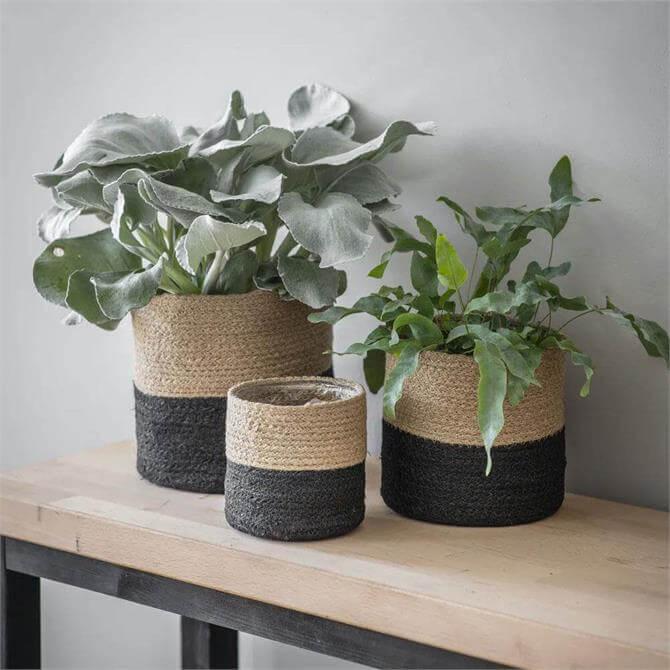 Set of Three Jute Pots Black