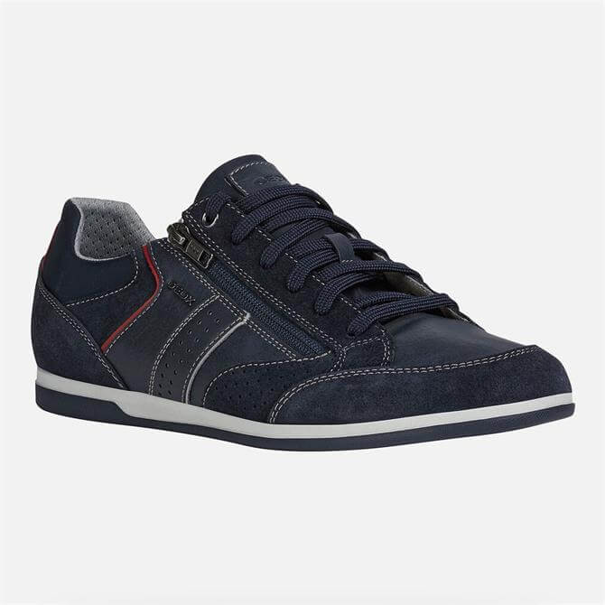 Geox Renan Navy Leather Trainers