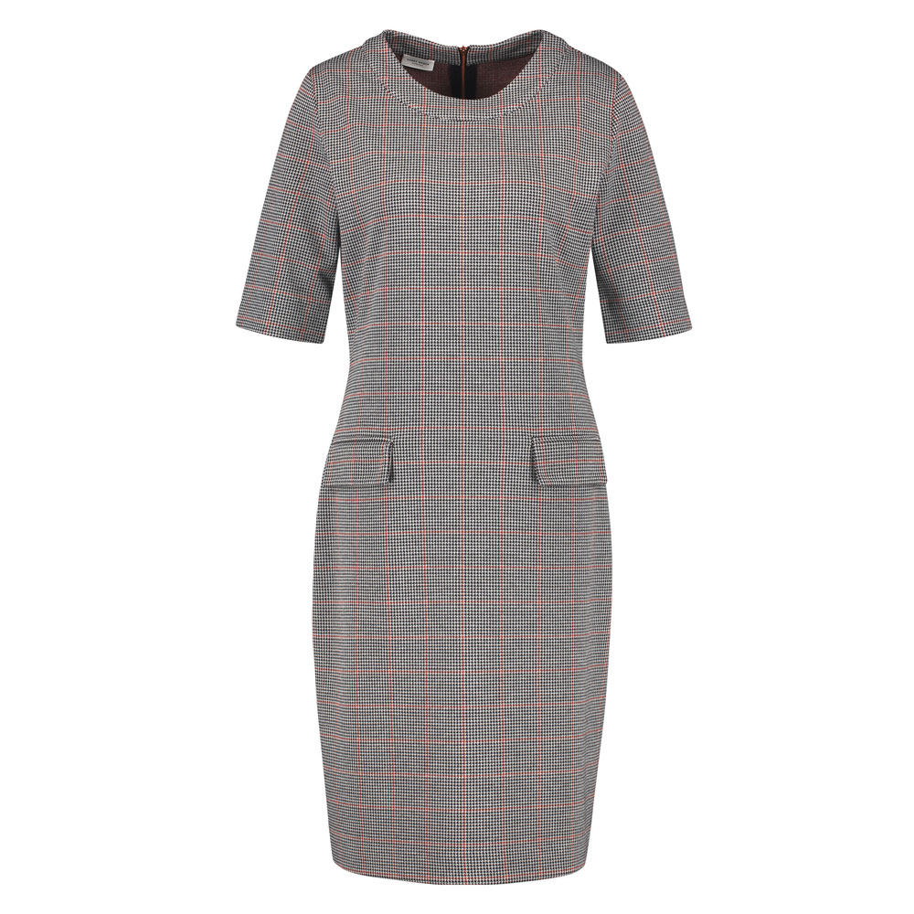 An image of Gerry Weber Check Print Shift Dress - 12, WHITE/NAVY/SIENNA