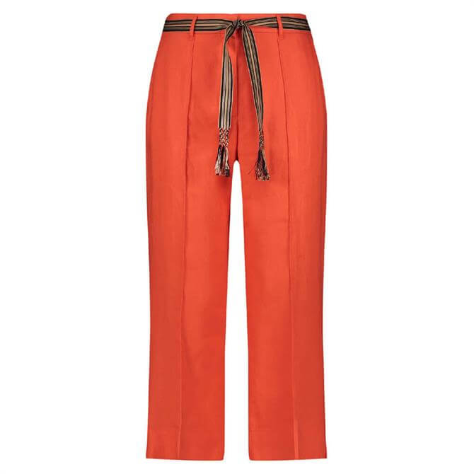 Gerry Weber Cropped Linen Belted Trouser