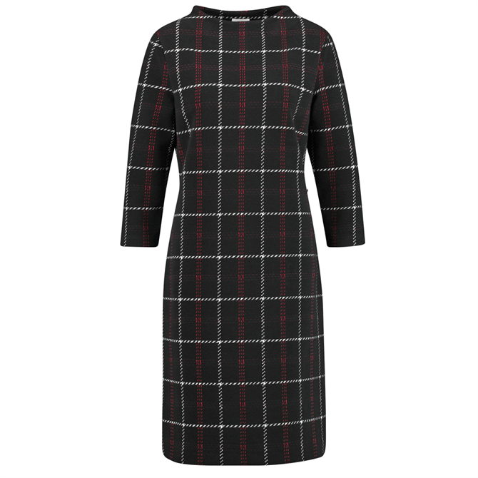 Gerry Weber Black Multi Check Fitted Dress