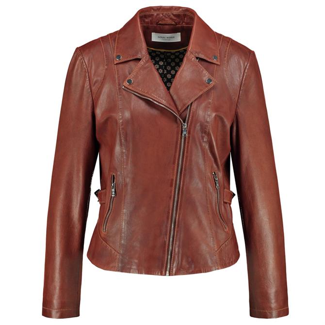 Gerry Weber Cognac Brown Leather Biker Jacket
