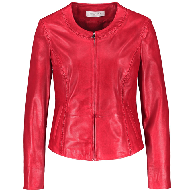 Gerry Weber Red Nappa Leather Fitted Jacket