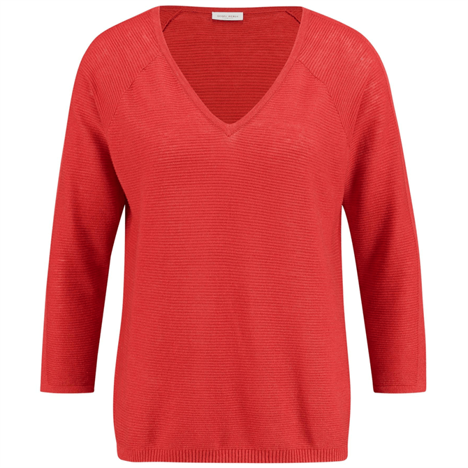 Gerry Weber Red 3/4 Sleeve V-Neck Sweater