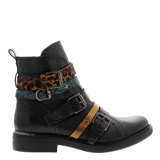 Carl Scarpa Ardella Black Leopard Ankle Boots