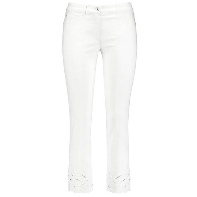Gerry Weber Broderie Anglaise Hem Cropped Trousers