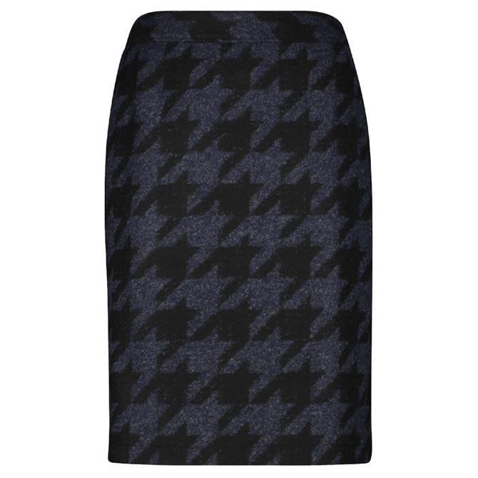 Gerry Weber Houndstooth Blue and Black Pencil Skirt
