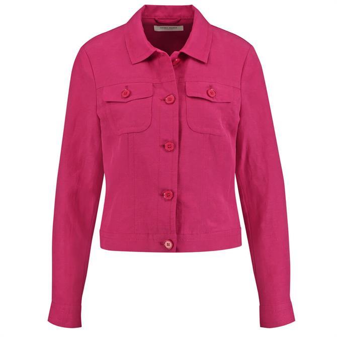 Gerry Weber Western Style Linen Blend Jacket in Fuchsia Pink