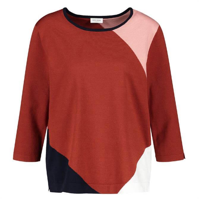 Gerry Weber Round Neck 3/4 Sleeve Colour-Block Sweater