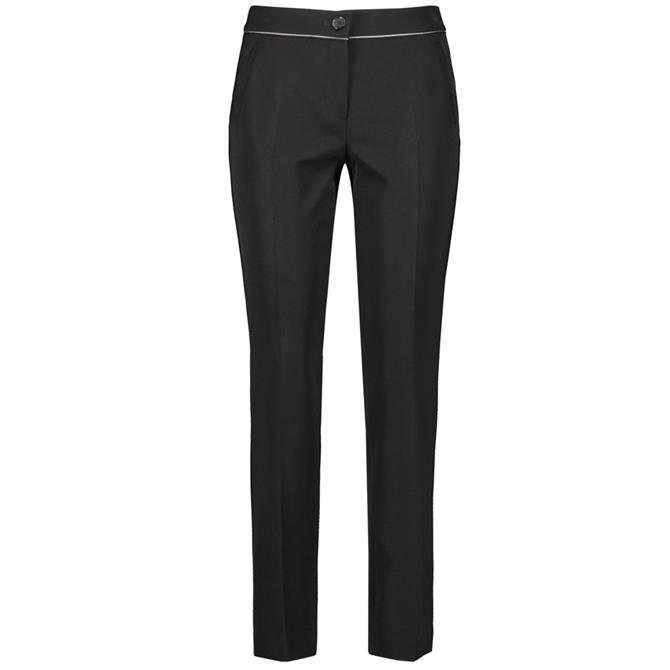 Gerry Weber Slim Black Trousers with Contrasting Piping