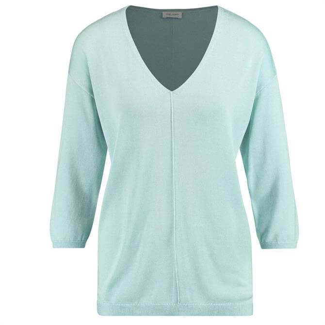 Gerry Weber V-Neck Fine Knit Aqua Blue Sweater