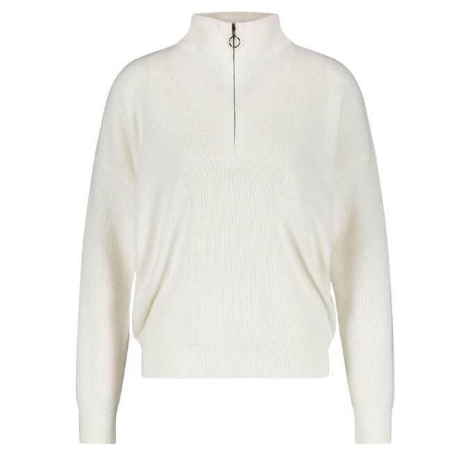 Gerry Weber Zip Neck Ribbed Cream Sweater