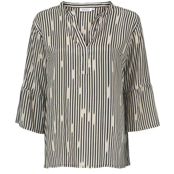 Masai Bell Black and White Striped Top