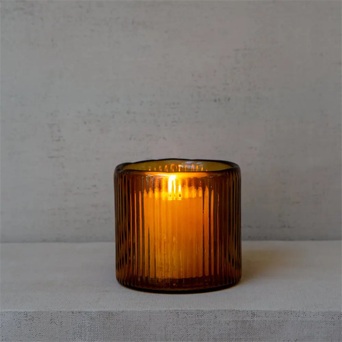 Grand Illusions Ribbed Hurricane Glass Vintage Amber Tealight Holder