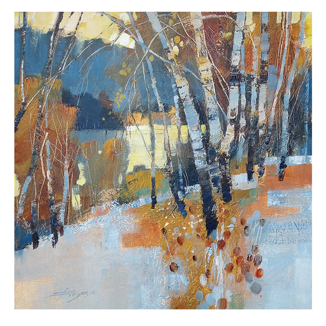 Pyramid Art Group Birch, Frost and Winter Lake by Chris Forsey Painting Print on Canvas
