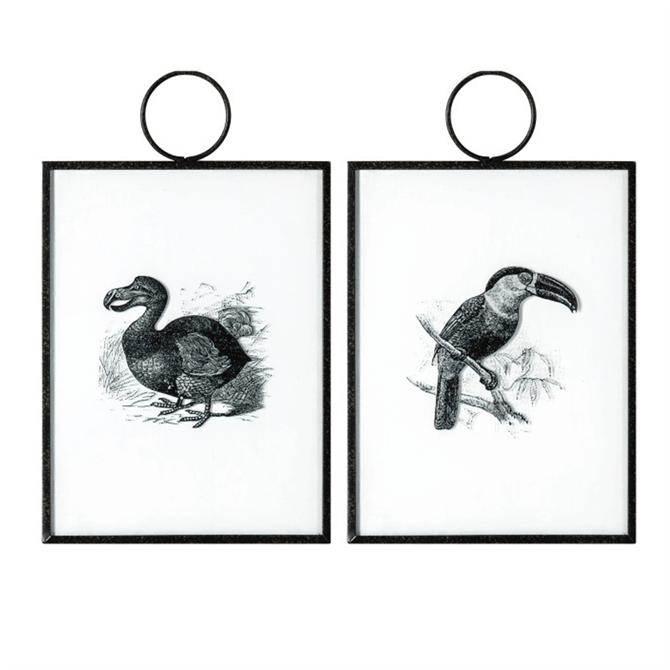 Exotic Birds Hanging Art Set of 2