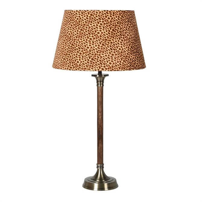 Wood & Brass Lamp Leopard Velvet Shade