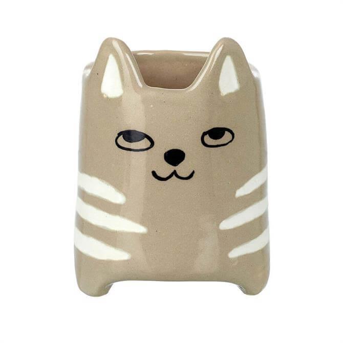 Parlane Ceramic Cat Pot Grey White