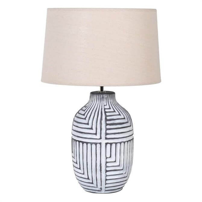 Abstract Lamp With Cream Linen Shade