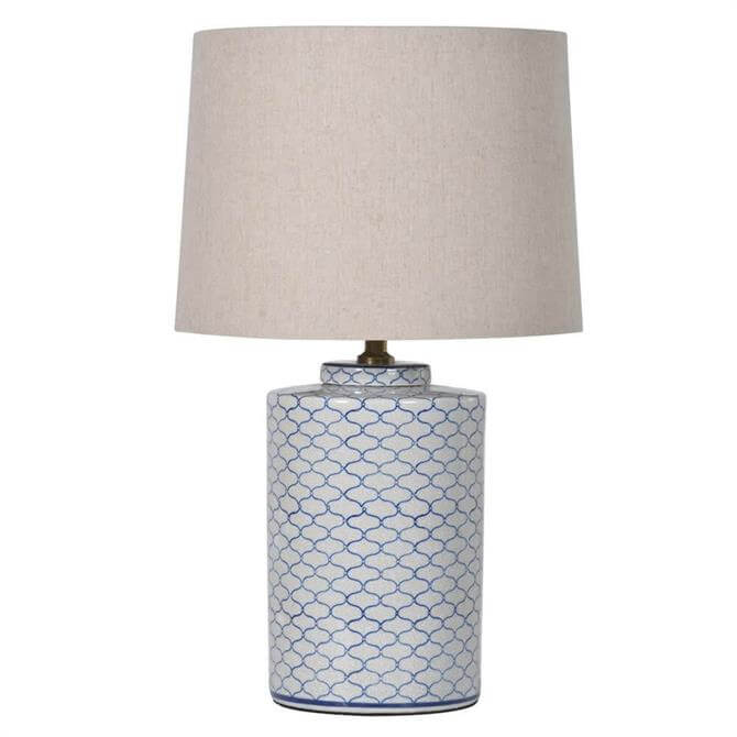 Crackle Lamp with Shade Blue White