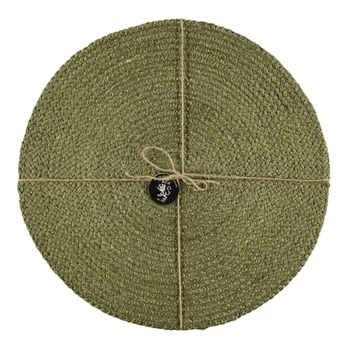 Silky Jute Round Placemats  Leek Green Set Of 2