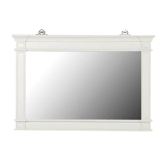 White Fayence Overmantle Mirror