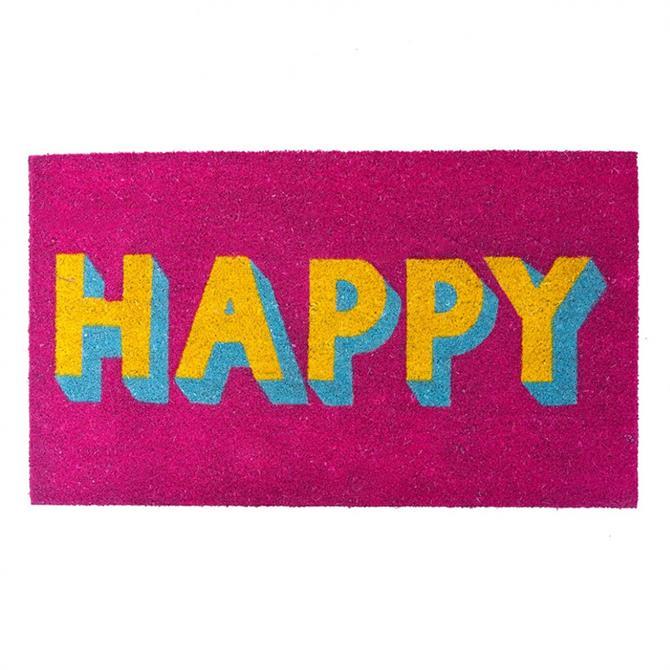 Bombay Duck Happy Block Letters Door Mat Pink Yellow