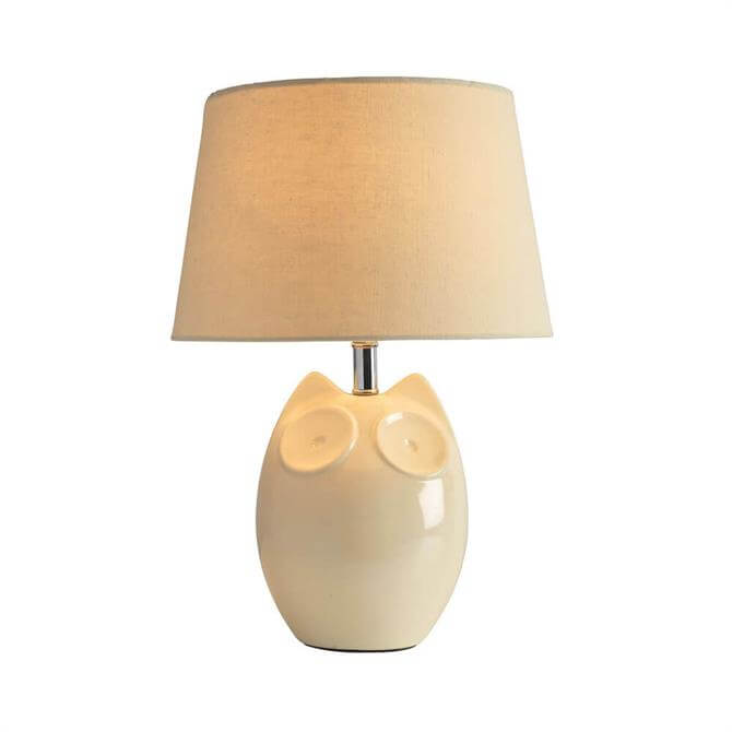 Lighting and Interiors Hector Owl Table Lamp Cream