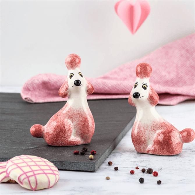 Hannah Turner Handmade Ceramic Pink Poodle Salt & Pepper Shakers