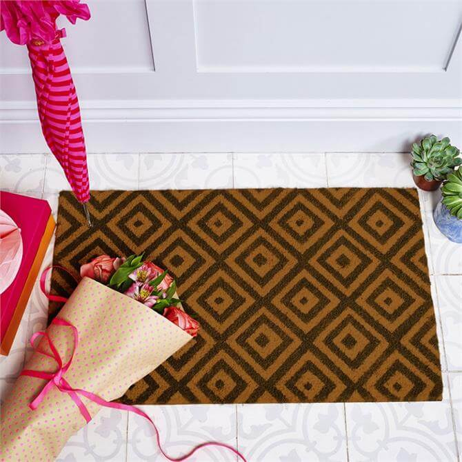 Bombay Duck Kabuki Diamonds Door Mat Charcoal