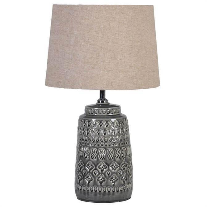 Dark Grey Ceramic Lamp with Linen Shade