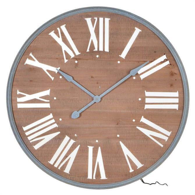 Lit Wood Wall Clock