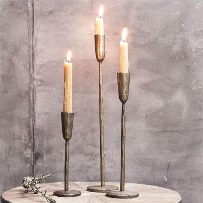 Nkuku Mbata Brass Candlestick Antique Brass