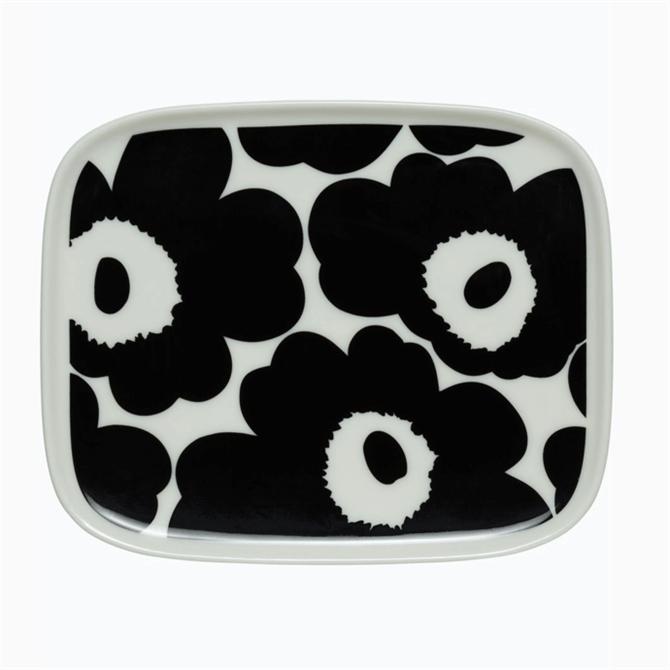 Marimekko Oiva Unikko Black & White Plate 15x12 Cm