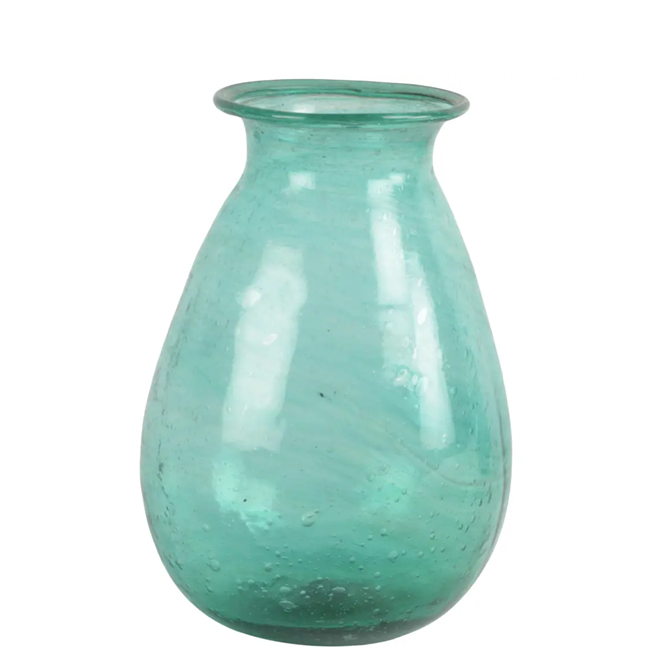 Grand Illusions Padma Vase Recycled Glass Teal