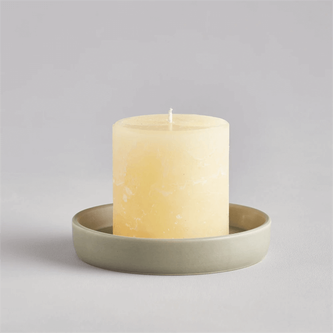 St Eval Light Grey-Green Candle Plate Small