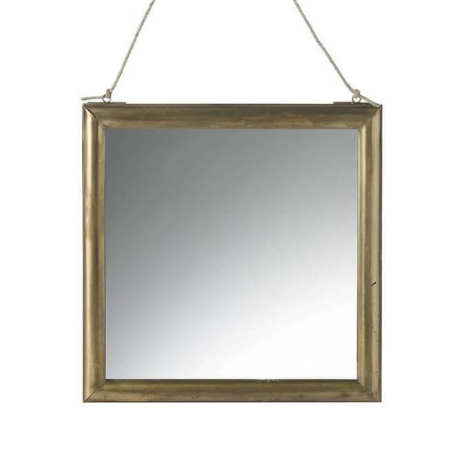 Parlane Lexy Mirror Square Glass Brass 36cm