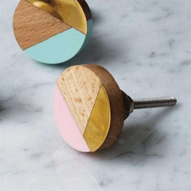 Bombay Duck Brass Wood & Resin Pink Knob