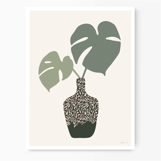 Green Lili Monstera Leaves In A Vase Print