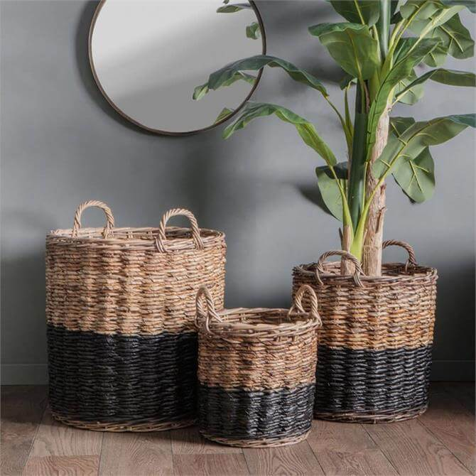 Ramon Set Of 3 Baskets Black Natural