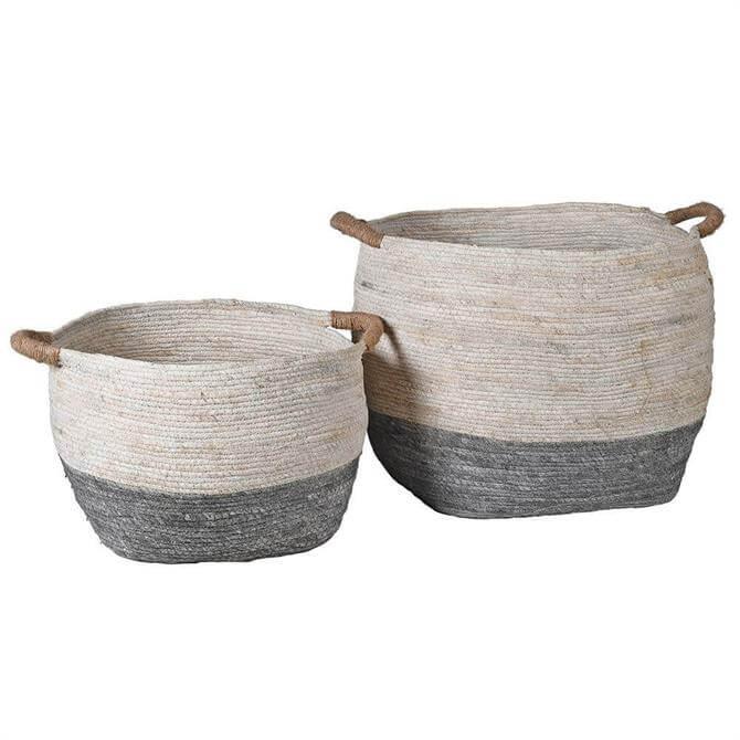 Round Baskets White Grey