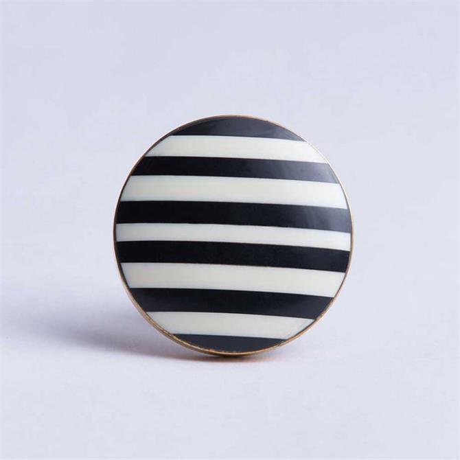Bombay Duck Round Stripe Knob Black White Brass