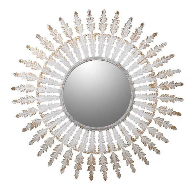 Distressed Round Feather Mirror