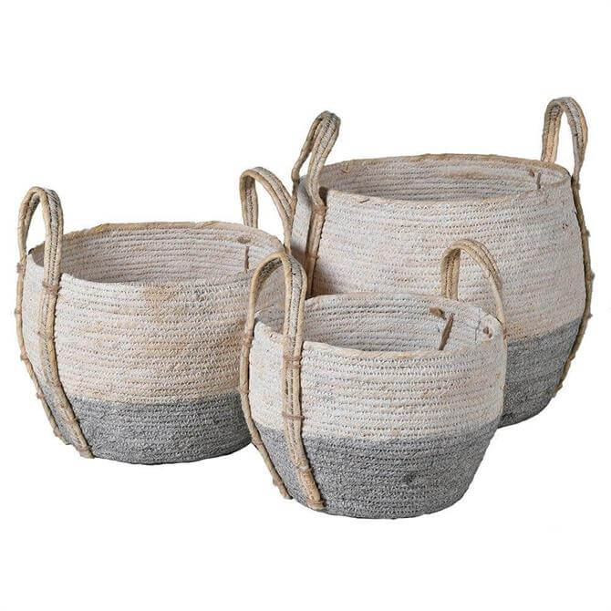 Grey & White Seagrass Baskets - Small, Medium, Large