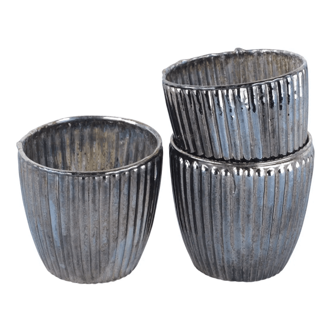 Grand Illusions Antique Silver Ribbed Beaker Votive Large Tealight Holders