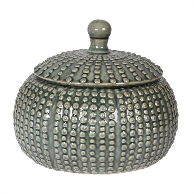 Large Squat Grey Jar with Lid