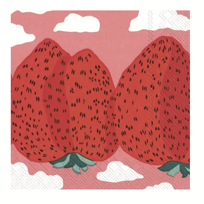 Marimekko Mansikkavuoret Strawberry Rose Napkins
