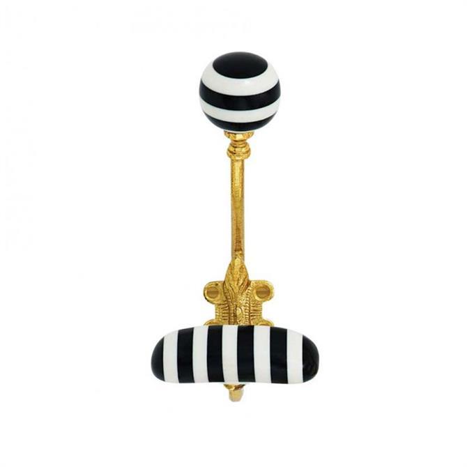 Bombay Duck Stripe Resin Hook Black White Gold