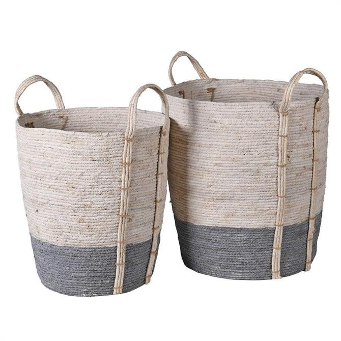 Grey & White Seagrass Storage Baskets